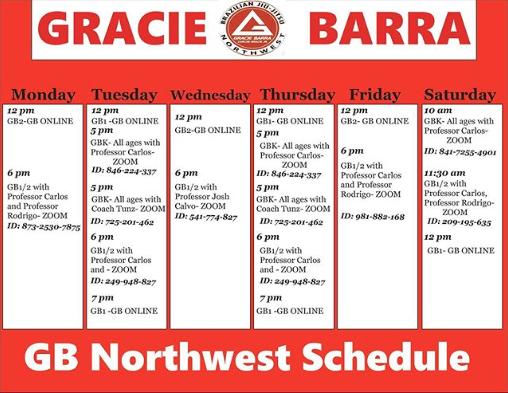 GB Northwest virtual schedule