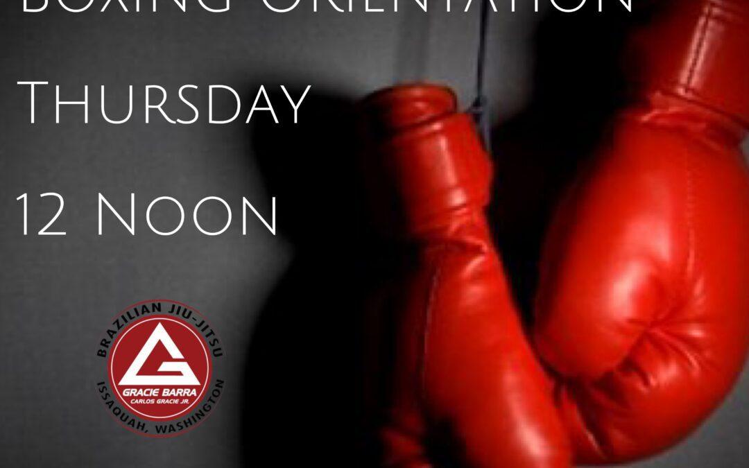 Boxing Orientation Thursday 6/25
