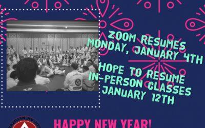 Classes Resume Monday, January 4th!